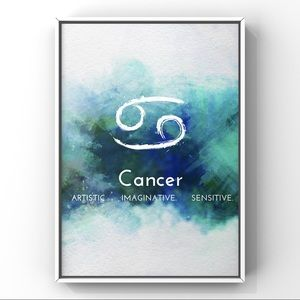 Cancer zodiac sign white blue watercolor art print